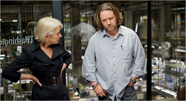 Helen Mirren and Russell Crowe as the editor and her journalist in State of Play